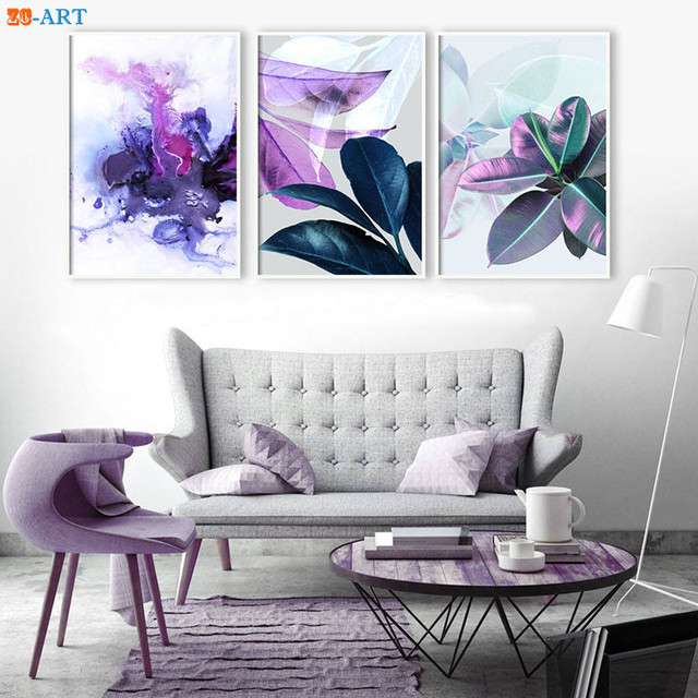 Purple Blue Abstract Print Ultra Violet Poster Navy Watercolor Wall Art Tropical Canvas Painting Room Home Decor Framed