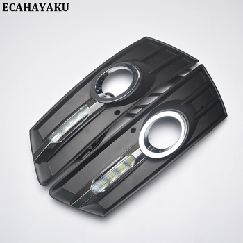 ECAHAYKU 1Pair for V W PASSAT CC 2011 2012 2013 12V LED CAR DRL Daytime running lights with fog lamp hole cover Fog driving lamp free shipping iphcar waterproof dual color special outside led daytime running lights for 2013 cr v