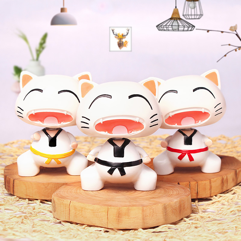 Image 2 - Cute Taekwondo Cat Shaking Head Car Ornaments Lovely Decoration Automobiles Interior Dashboard Nodding Toys Doll Car Accessories-in Ornaments from Automobiles & Motorcycles