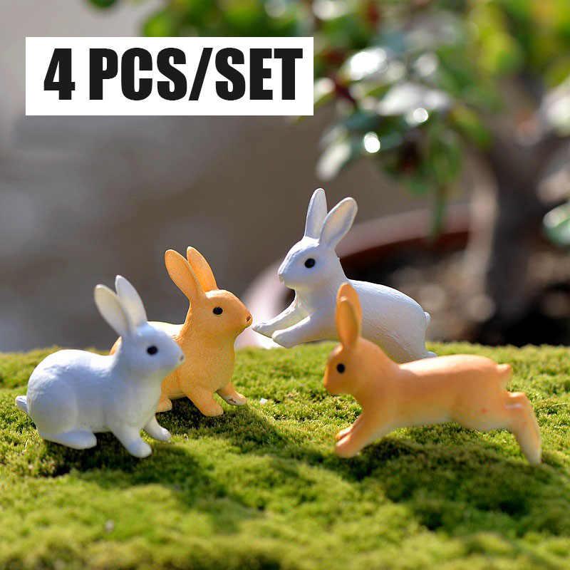 4 pçs correndo/sentado coelho jardim ornamento miniatura estatueta planta pote fada resina sintética mini animal fada decoração do jardim
