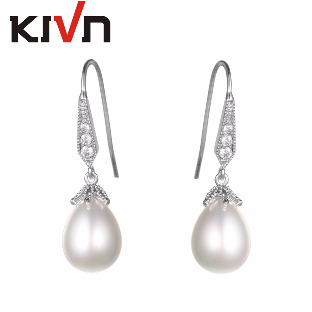 KIVN Womens Fashion Jewelry Drop Dangle Pave CZ Cubic Zirconia Wedding Bridal Simulated Pearl Earrings Birthday Christmas Gifts