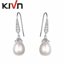 KIVN Womens Fashion Jewelry Drop Dangle Pave CZ Cubic Zirconia Wedding Bridal Simulated Pearl Earrings Birthday Christmas Gifts