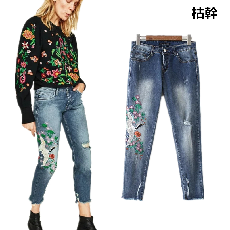 Sales Jenny&Dave   jeans   woman slim waist red-crowned crane embroidery burrs womens colored skinny   jeans   plus size women plus size