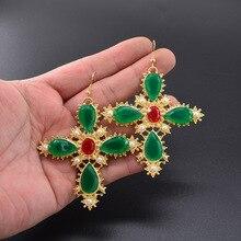 New Arrival Vintage Green Crystal Pearl Cross Drop Earrings for Women Baroque Bohemian Large Long Jewelry Brincos 2019