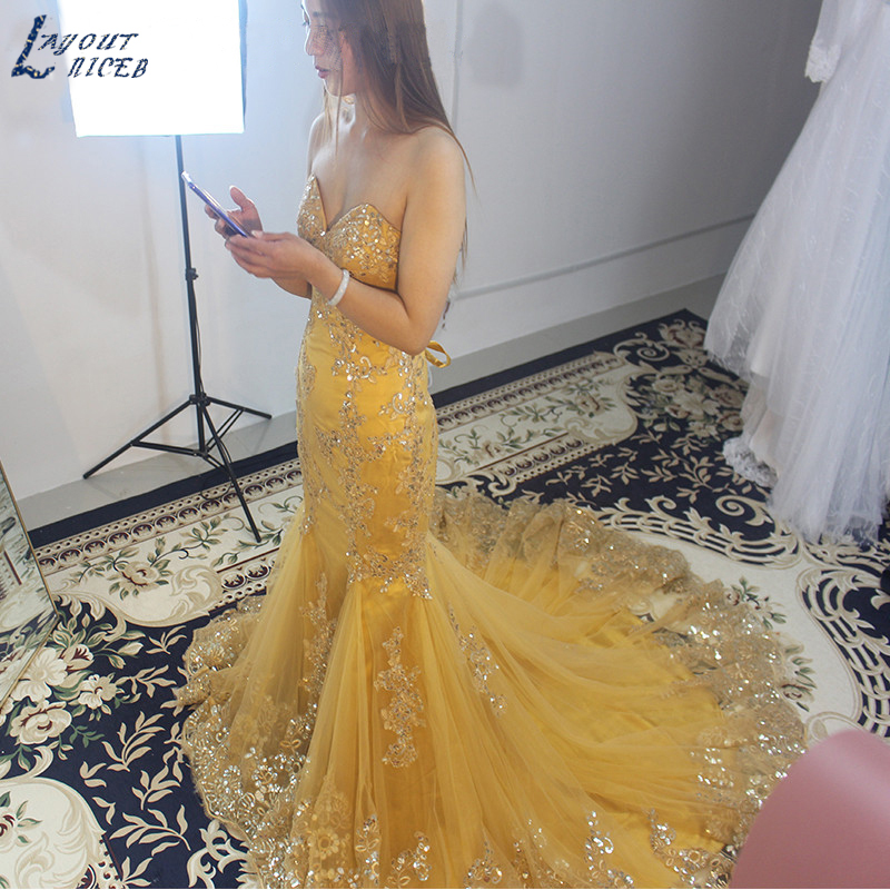 E1205 Gold Lace Appliques Mermaid Evening Dress 2019 robe de soiree Rhinestone Beads vestido de festa