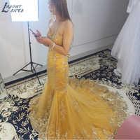 E1205 Gold Lace Appliques Mermaid Evening Dress 2019 robe de soiree Rhinestone Beads vestido de festa Custom Made