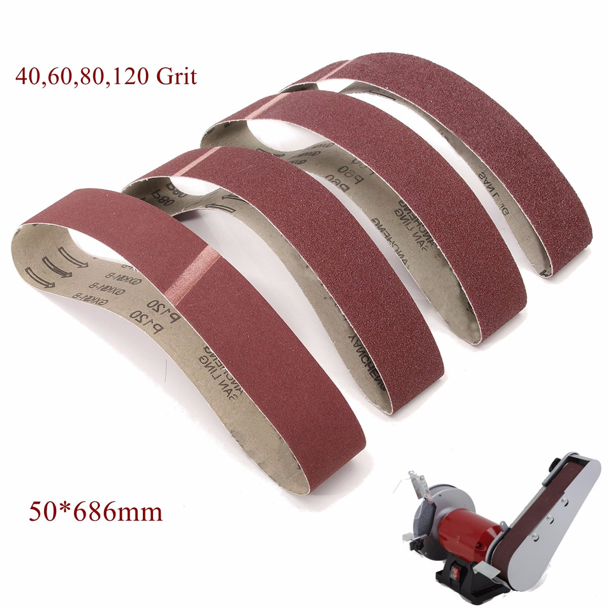 50x686mm Sanding Belts 40 60 80 120 Grit Belt Sander Power Tools For Polishing And Cleaning