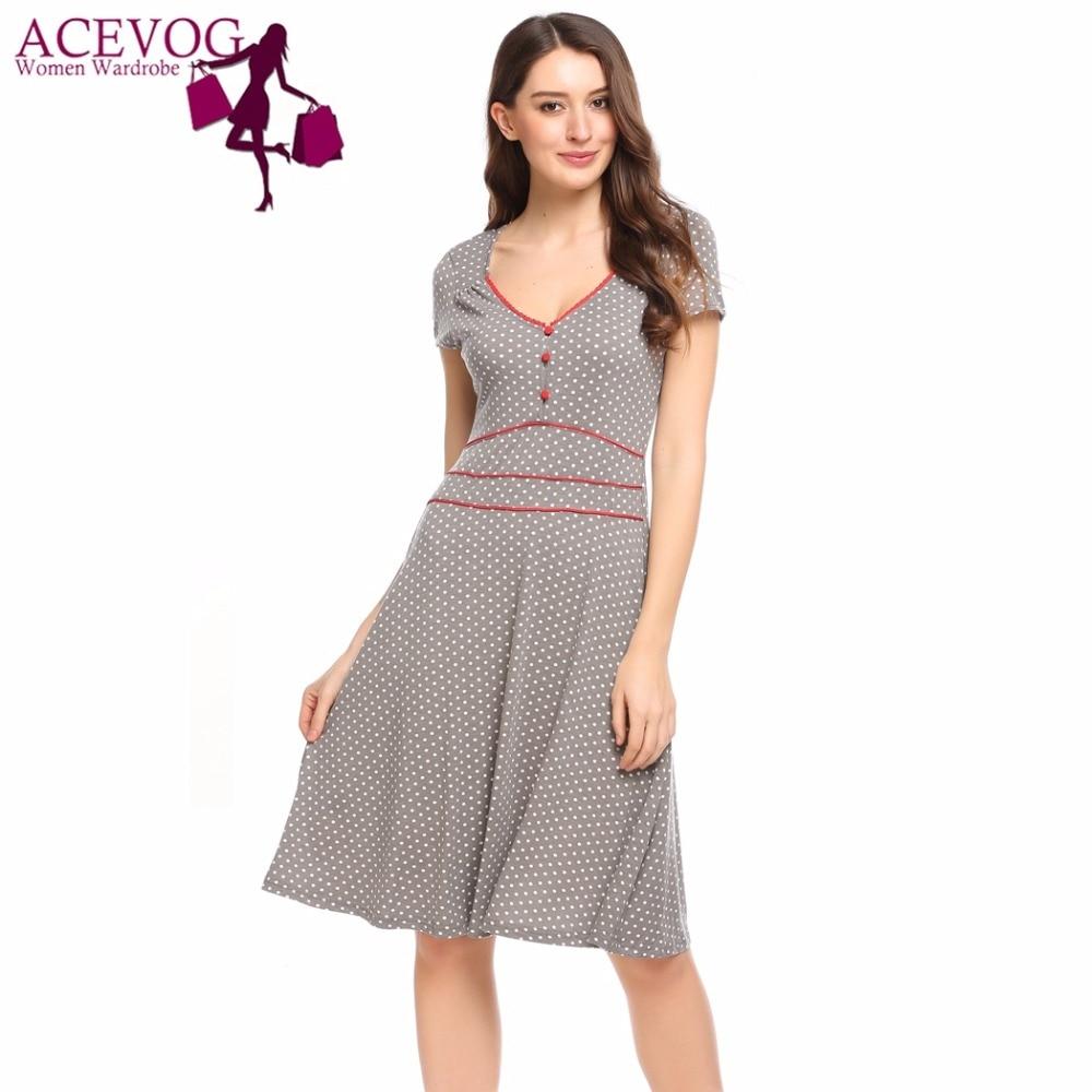 ACEVOG Women Vintage Dress Summer Polka Dot Print V-Neck Short Sleeve Brand Fit and Flare Dresses Party Feminino A-Line Vestidos