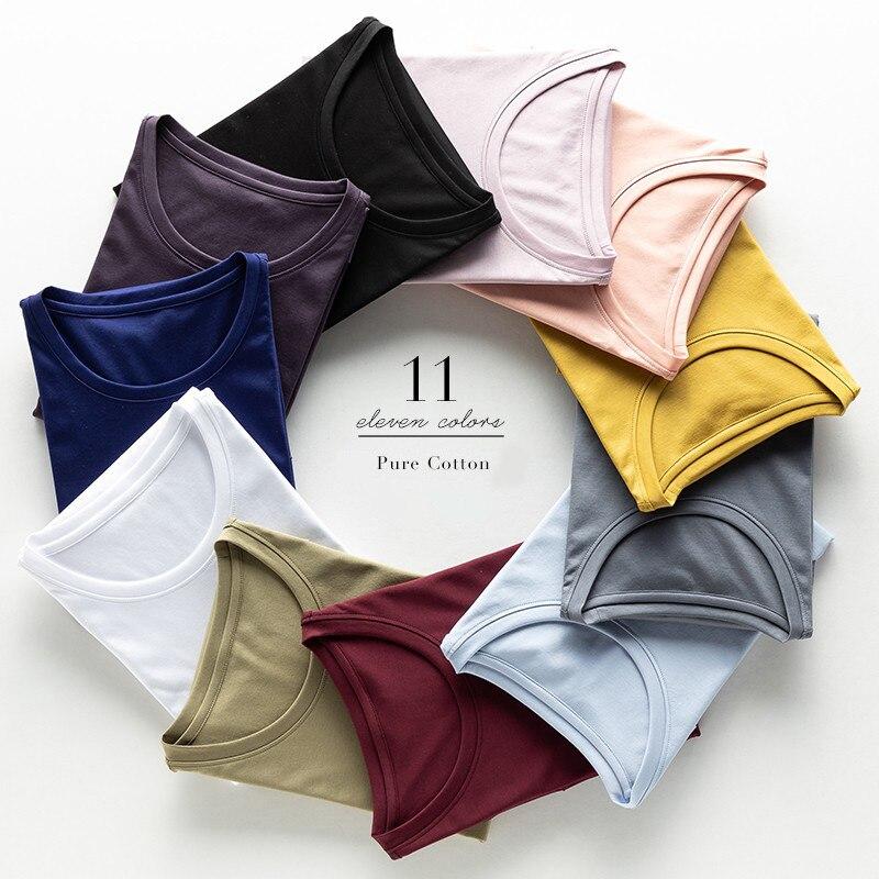 High end Luxury Fabric Women O Neck 100% Mercerized Cotton T shirt Tee Short Sleeve Silk Feeling 2019 Summer Wear Vacation V c|T-Shirts|   - AliExpress