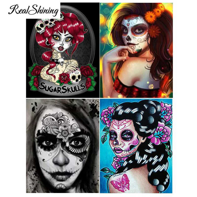 Teenager Gift 5D DIY Full Square  Round Drill Goth Lady Cross Diamond Painting Kit Sugar Skull Lady  With Roses Wall Decor