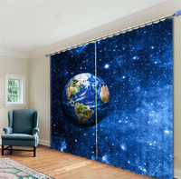 Earth in the galaxy 3D Blackout Window Curtains For Living room Bedding room Hotel/Office Curtain Drapes Cortinas para sala