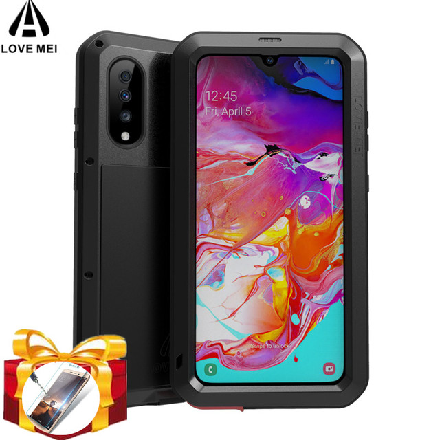 LOVE MEI Powerful Metal Case For Samsung Galaxy A70 Waterproof Case Aluminum Shockproof Cover for Samsung A70 Gorilla glass A 70