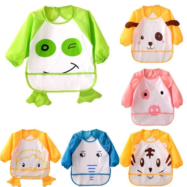 Cute Long Sleeve Waterproof Baby Bibs Children Apron Coverall Toddler Newborn Feeding Smock For Children Girls Boys Burp Cloths