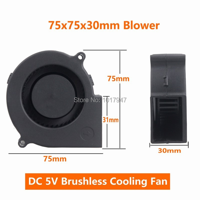 Купить с кэшбэком 2Pieces Lot PC Computer Cooling Cooler DC Centrifugal Blower Fan USB 5V 6015S 60x60x15mm 60mm 75mm 7515 7530 50mm 5015