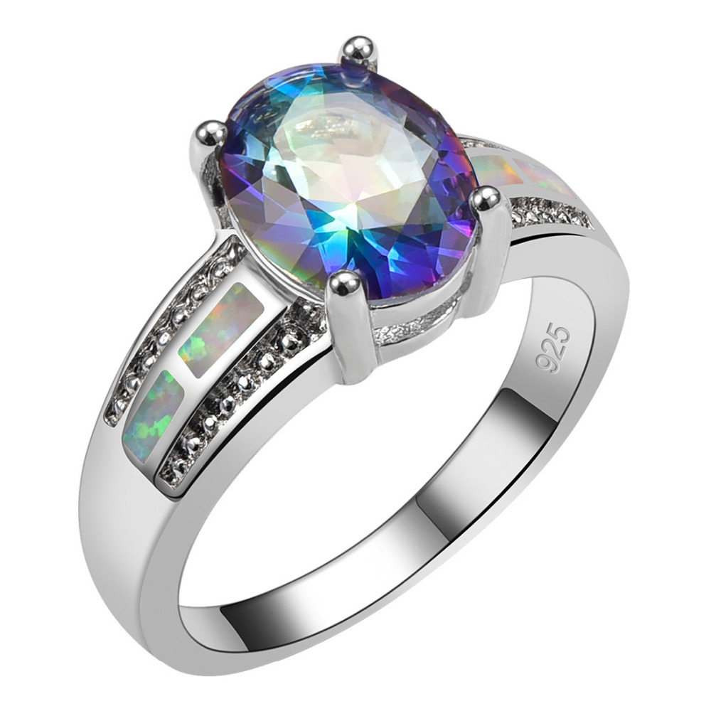 Blue Rainbow Crystal Zircon With White Fire Opal 925 Sterling Silver High Quantity Ring Beautiful Jewelry Size 6 7 8 9 10 R1461