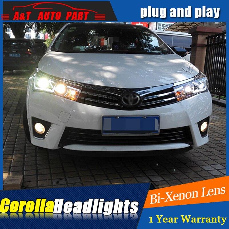 Автомобильный Стайлинг светодиодный налобный фонарь для Защитные чехлы для сидений, сшитые специально для Toyota Corolla светодиодный фары 2014 2015