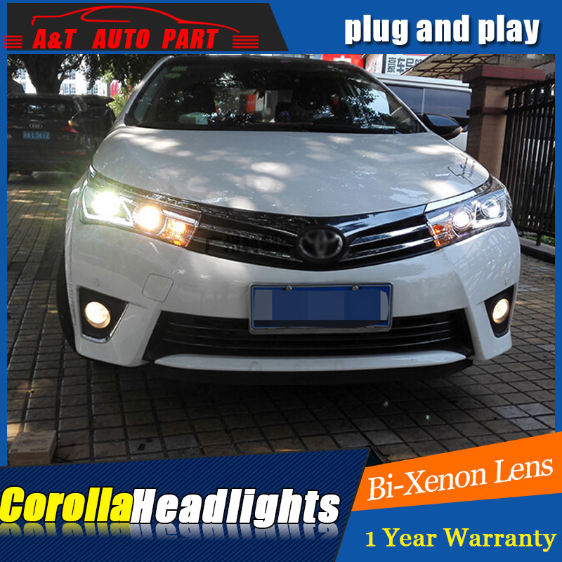 Auto Part Style LED Head Lamp for Toyota Corolla led headlights 2014-2015 FOR Corolla drl H7 hid Bi-Xenon Lens low beam auto part style led head lamp for benz w163 ml320 ml280 ml350 ml430 2002 2005 led headlights drl hid bi xenon lens low beam