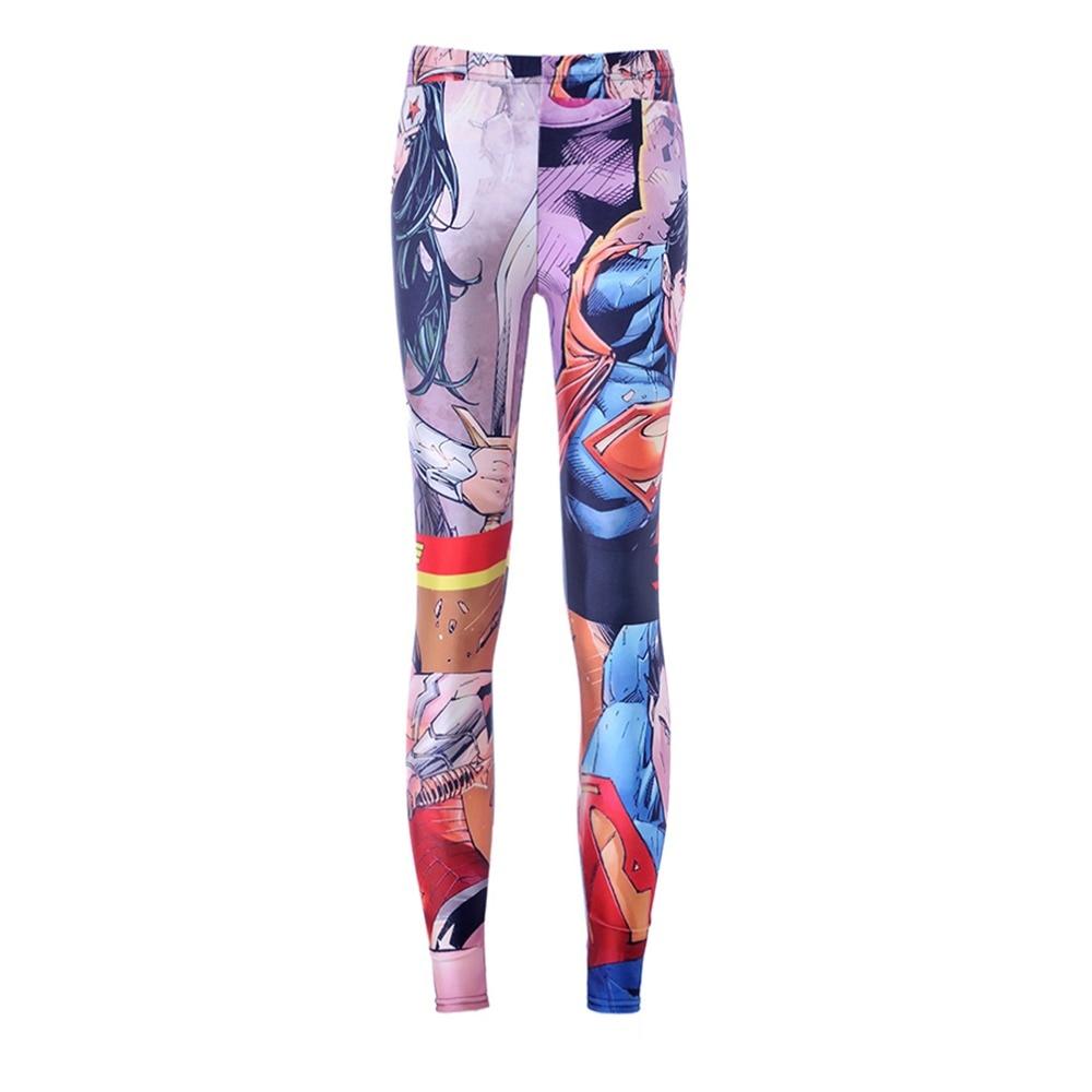 3554 Fashion Women Wonder Woman Superman prints elastic bodybuilding sexy Girl Leggings Pants