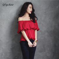 Qlychee Women Blouses Spring Autumn Sexy Off Shoulder Pleated Chiffon Ruffle Blouse Shirt Femme Tops Ladies Blouse Chemise