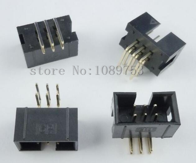 100 pcs 6 Pins 2x3 Box Header Connector IDC Male Sockets Right Angle 2.54mm 100pcs idc box header dc3 dc3 6p 2x3 6 pins 6p 2 54mm pitch