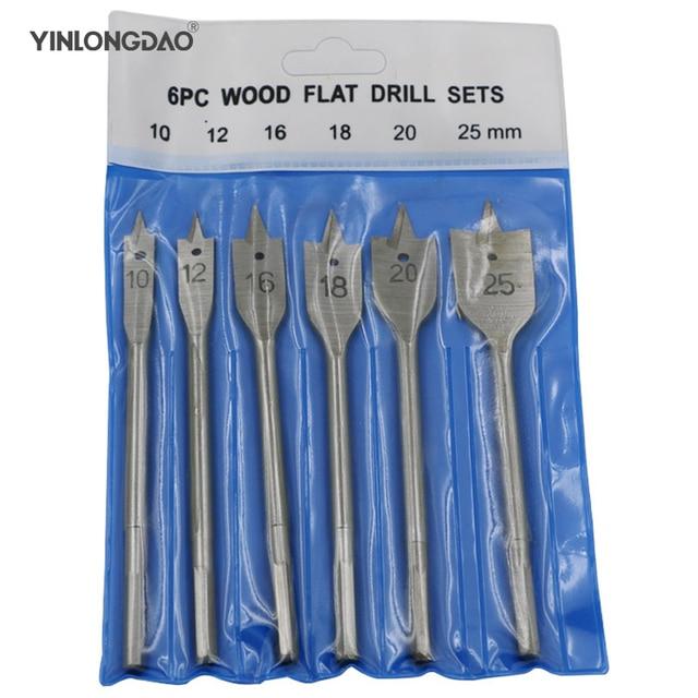 """6 יחידות 10-25 מ""""מ שטוח תרגיל ארוך גבוהה פחמן פלדה עץ שטוח תרגיל סט נגרות ספייד תרגיל bits עמיד עיבוד עץ כלי"""