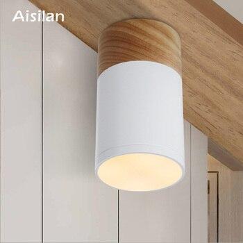 Aisila светодиодный светильник, деревянный потолочный светильник для гостиной, спальни, кухни, коридора, коридора, AC85-260V 5 Вт, поверхностный све...