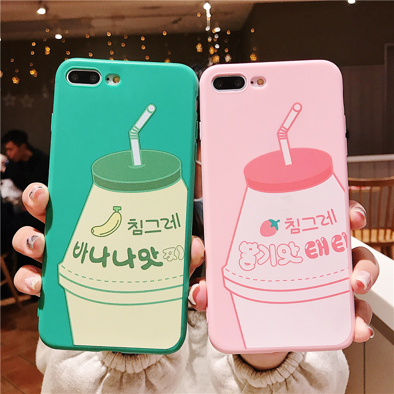 Japan Korea Cute Sweet Banana Milk Strawberry Drink Cover Case For Iphone X Xs Max Xr 7 8 6 6s Plus Candy Silicon Tpu Soft Coque Fitted Cases Aliexpress