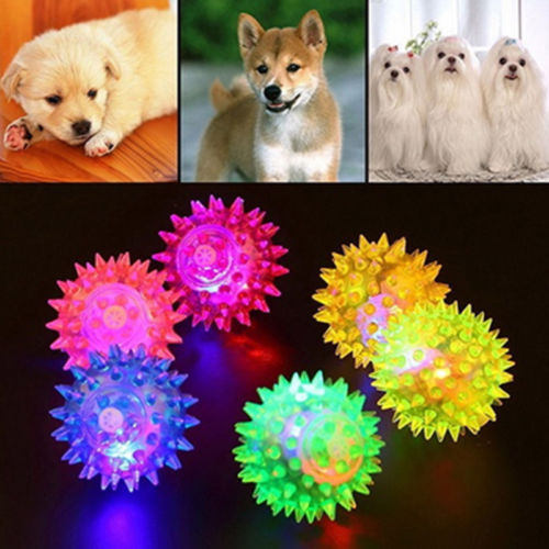 Hot Pet Dog Puppy LED Light Up Elastic Rubber Flashing Sensory Spike Ball Fun Toy 6.5/7.5cm