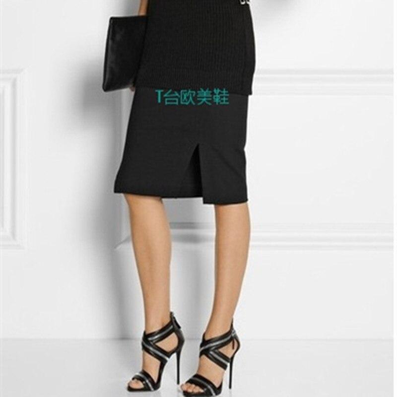Superstar Sandales Pompes Argent Métal Mariage Sheepshin Talons Croix D'été Pic attaché Super Taille Plus Mode La Zipper As Femmes Haute wqOv8Tv7I