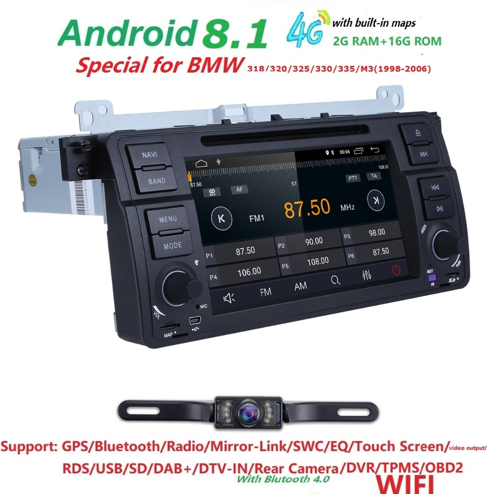 HIZPO 4 Core Android 8.1 autoradio DVD pour bmw série 3 e46 2000-2006 Rover 75 1999-2005 MG ZT écran tactile GPS DVR caméra gratuite