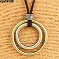 woman jewelry statement necklaces & pendants,long rope two circles pendant vintage necklace women christmas gift collares mujer