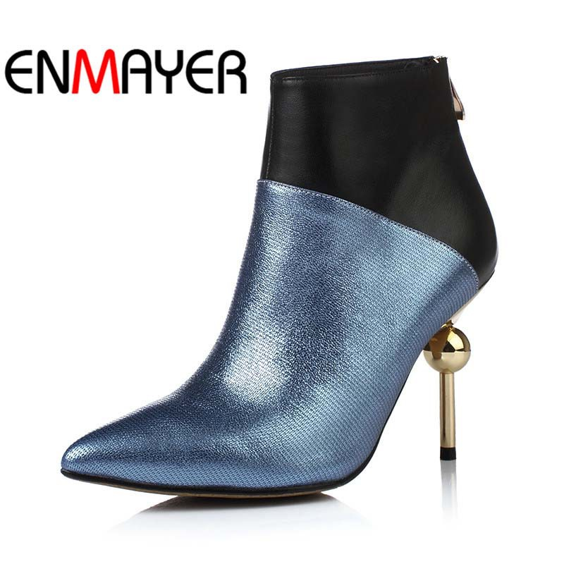 ФОТО ENMAYER New Sexy Pointed Toe Fashion Boots Women Genuine Leather Ankle Boots For Women High winter wedding platform pumps shoes