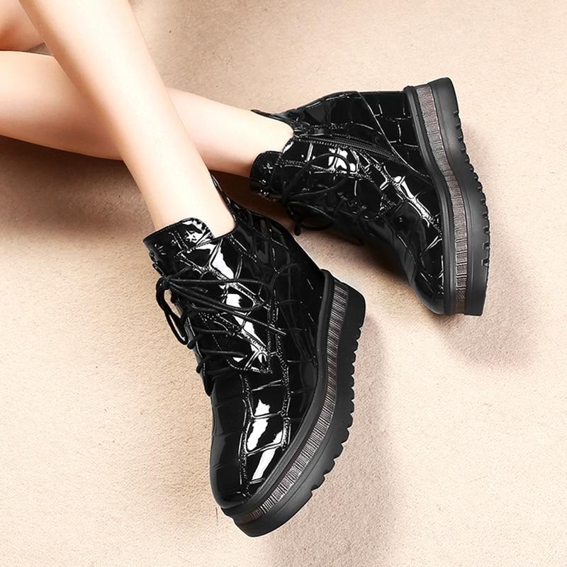 Hiver Bottes Coins Cheville Véritable Noir Cuir Automne Femme Lacent Chaussures Footear jaune Femmes De Grande Taille 42 gn4Snx