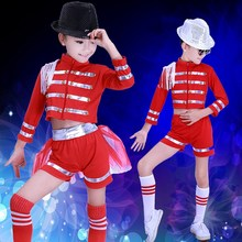 New Girls Sexy Modern Dance Cheerleading Costumes Kids Group Red Jazz Ballroom Tango Dress Children Clothes