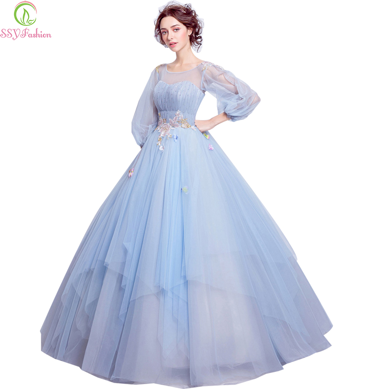 SSYFashion Sweet Light Blue Flower Fairy Princess Prom Dress Transparent Long Sleeves Sequined Party Ball Gown Robe De Soiree