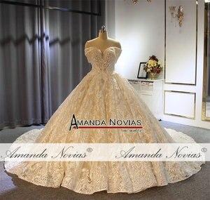 Image 5 - Бальное платье принцессы с открытыми плечами, свадебное платье цвета шампанского, Новинка