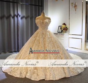 Image 5 - Off the shoulder straps ball gown princess wedding dress champagne color brand new