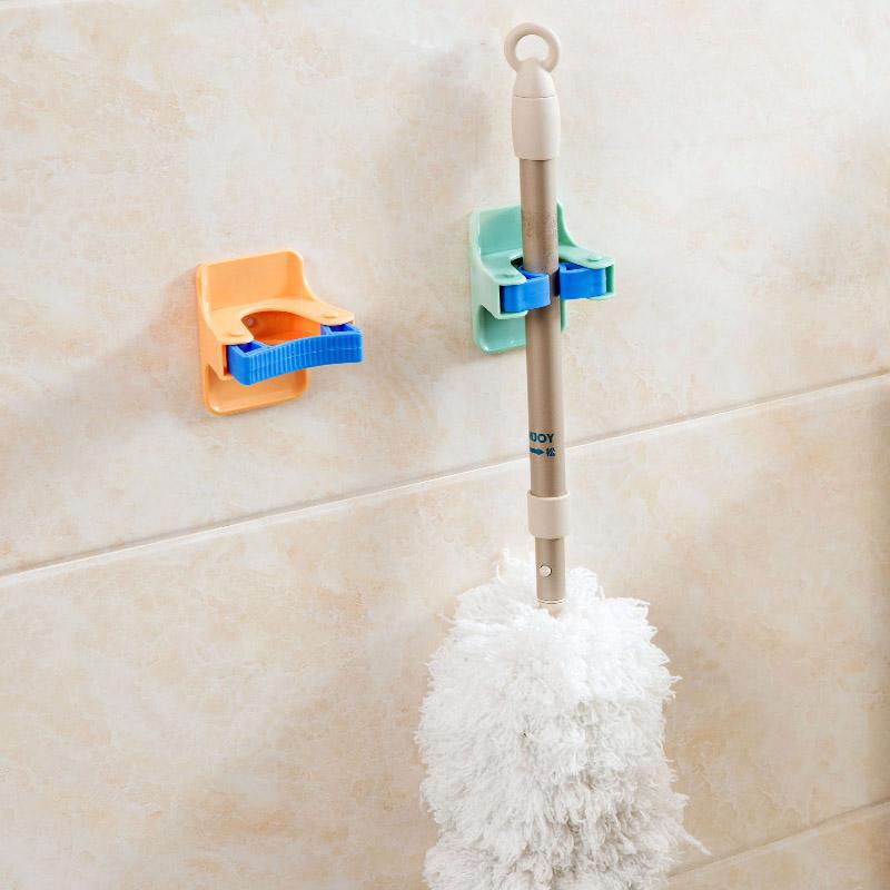 MOM'S HAND 2pcs/lot Home Clip Mop Hooks No Trace Mop Holder Bathroom Rack 12