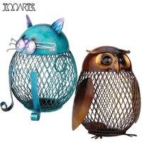 Tooarts 2 Unids/set Búho Hucha Banco Gato Animal Moneda Caja de Hierro Arte Ornamento Artesanía Alcancía Decoración Del Hogar Accesorios