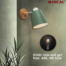 Настенный светильник в скандинавском стиле, Современный Креативный светодиодный гибкий руль для спальни, прикроватная тумбочка для ресторана, кофейного бара, деревянная настенная лампа