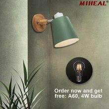 נורדי סגנון מנורת קיר מודרני Creative LED גמיש היגוי ראש עבור שינה מיטת מסעדת קפה בר עץ מנורת קיר