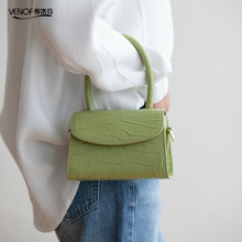 VENOF samll fashion crocodile grain women Leather Bag Lux Split Cowhide Shoulder Female Crossbody bag Designer Handbags Girl