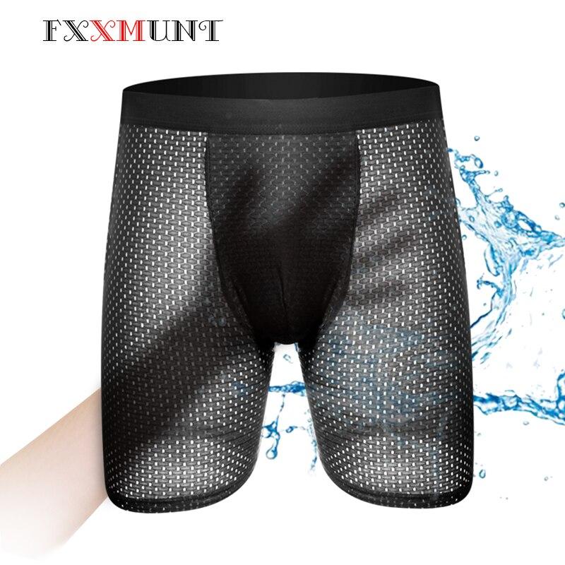 Men Underwear Sexy Gauze Shorts Long Boxers Homme Ethika Mens Underwear BoxerShorts Underwear Breathable Underpants Male Shorts