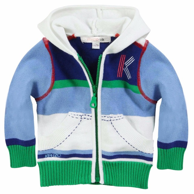 New Baby Hooded sweater boys Color matching stripes zippers knitting sweater Brand clothing wholesale