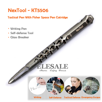 New NexTool Tactical Pen KT5506 With Fisher Space #SPR4 Black Ink Refill Self Defense Supplies Glass Breaker Gift Box