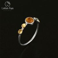 Lotus Fun Real 925 Sterling Silver Natural Tourmaline Handmade Creative Designer Fine Jewelry Delicate Thin Female
