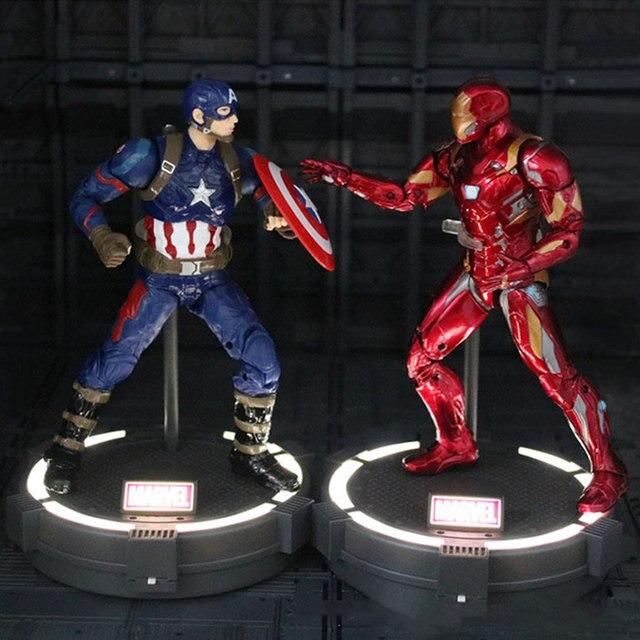Filme Anime modelo Brinquedos Figura de Ação maravilha Avengers Infinito Guerra LedBase Captain America/homem De Ferro/Spiderman/thor /pantera negra