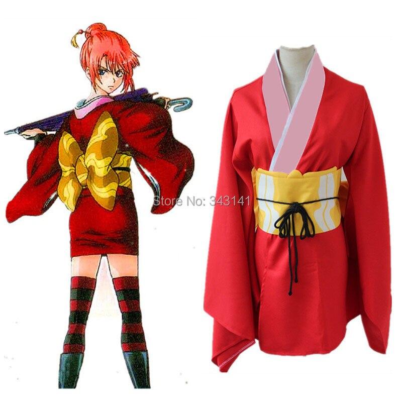 Джинтама Кагура косплей костюмы Красное кимоно Японская аниме одежда Маскарад / Марди Гра / Карнавальные костюмы со склада