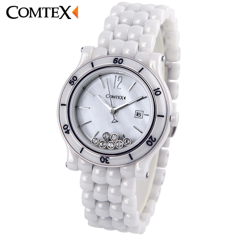 COMTEX Women Watch Classical Calendar Lady Dress For Women Watches Top Fashion Casual Luxury Band Ceramic Quartz Wristwatch Gift