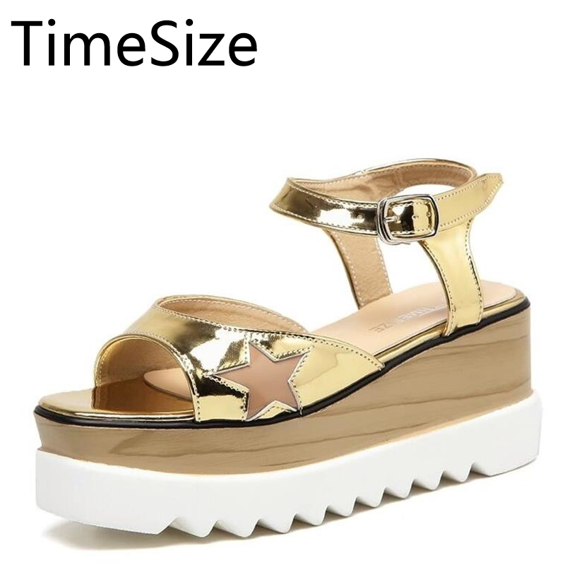 2017Women Platform Shoes Oxfords Brogue PU Leather Flats Lace Up Shoes Creepers Vintage Hollow Light Soles Open Toe Casual Shoes qmn women snake effect leather brogue shoes women round toe platform oxfords shoes woman genuine leather casual platform flats